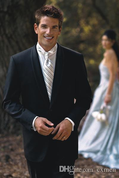 Custom Made Groom Wear Black Men Suits Wedding Suits For Man Bridegroom Tailored Shawl Lapel Tuxedo 2 Pieces Formal Groomsman Best Man Suits