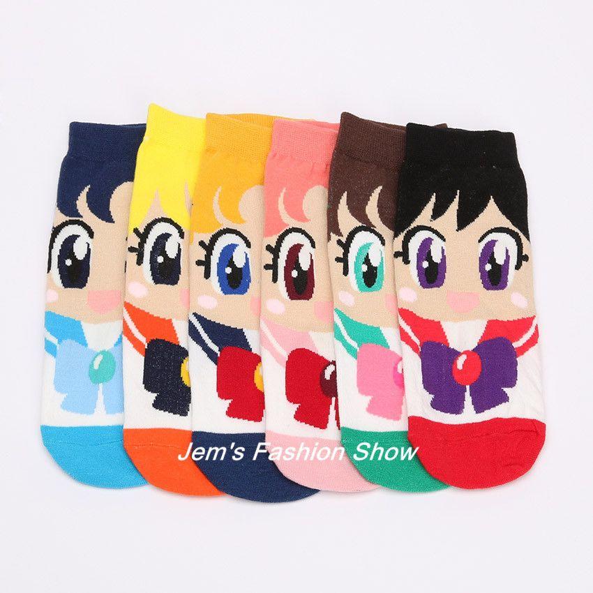 Sailor Moon Mercury Mars Jupiter Cute Cartoon Socks Spring Summer Casual Women's Fashion Cotton Sneaker Socks