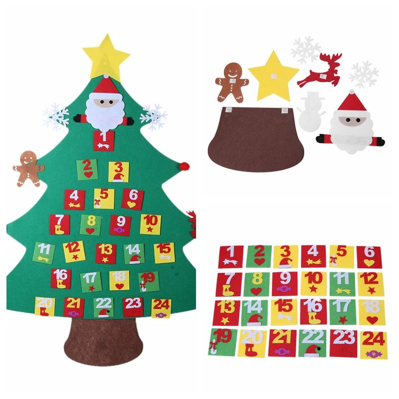 Calendar Kids DIY Felt Christmas Tree with Ornaments Children Christmas Gift for 2018 New Year Door Wall Hanging Xmas Decoration