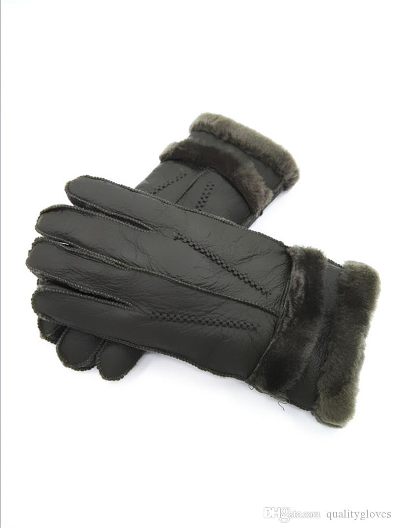 Free Shipping - 2018 new men casual warm leather gloves pure wool gloves fur gloves