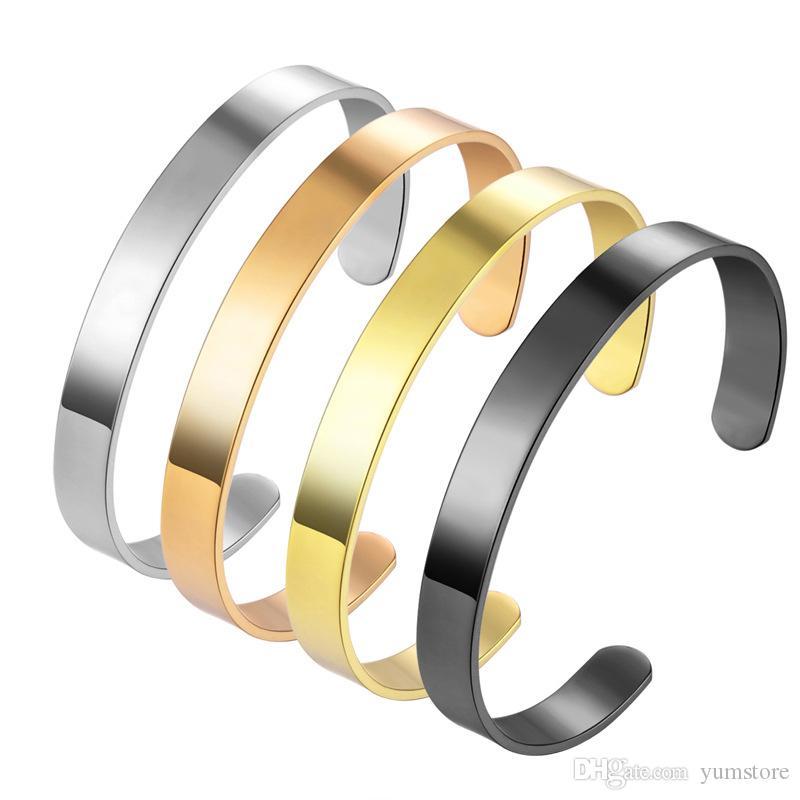 Bracelet ouvert simple en acier inoxydable Bracelet de haute qualité Bracelet Chic Or Rose Plaqué Or Bracelets Pour Femmes
