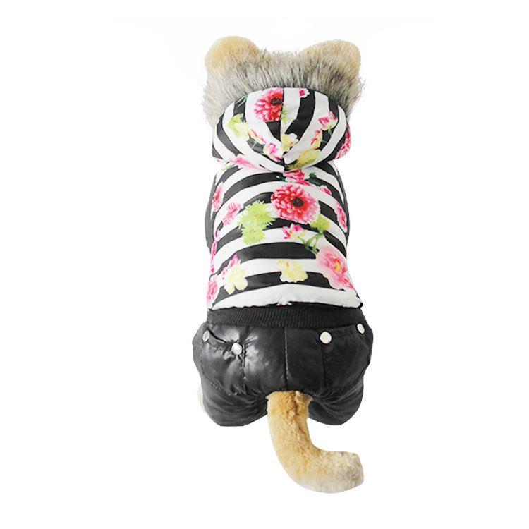 100% хлопок богатый цветок pet одежда Одежда, зима теплая мягкая щенок собака Pet одежда перевешивает четвероногие брюки из S-XL