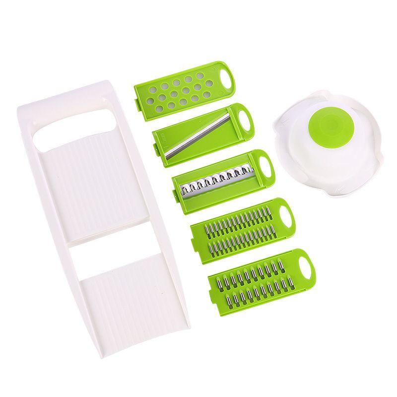 5 in1 multi-fonctions en plastique et en acier inoxydable Lames légumes fruits Slicer fruits Outils de légumes Outils de cuisine avec Repose-main