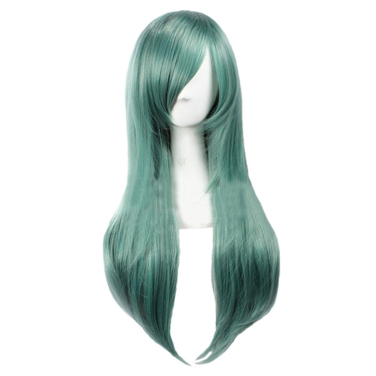 Women's Straight Party Cosplay Costume Full Wigs Long Green