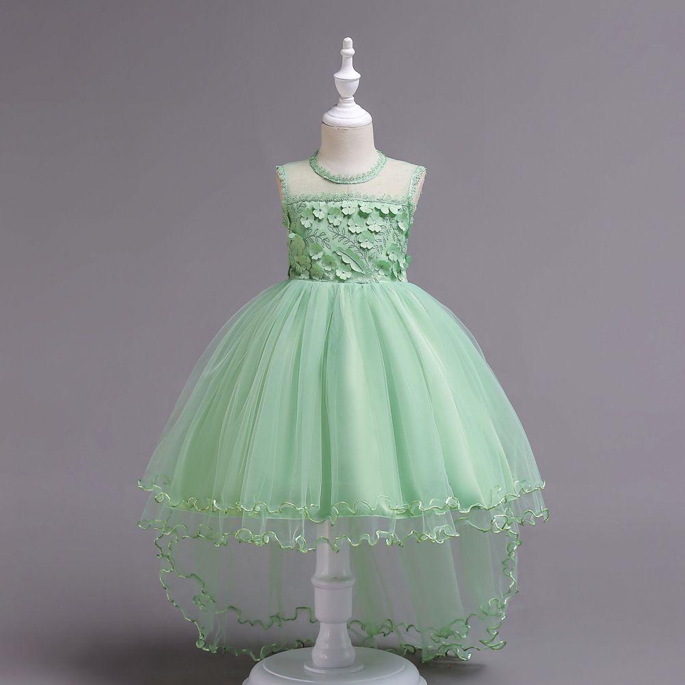 Baby Girl Dresses sleeveless lace luxury trailing dress 2018 fashion princess ball Halloween party wedding flower host girl dress 2002