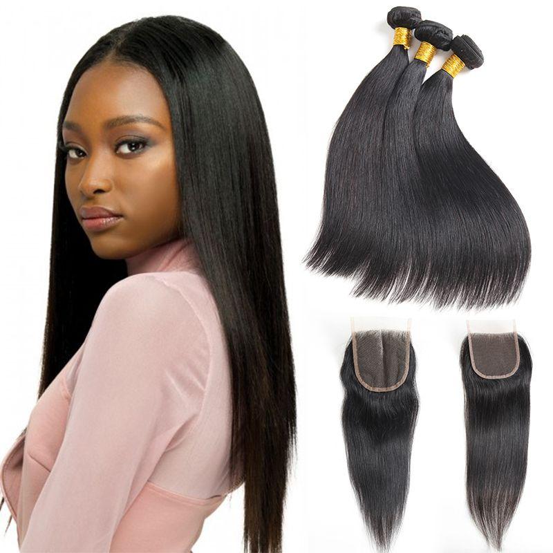 Brazylijski proste 3 pakiety z zamknięciem nieprzetworzonego malezyjskiego prostego włosa ludzkiego z 4x4 koronki Zamknięcie brazylijskie przedłużanie włosów