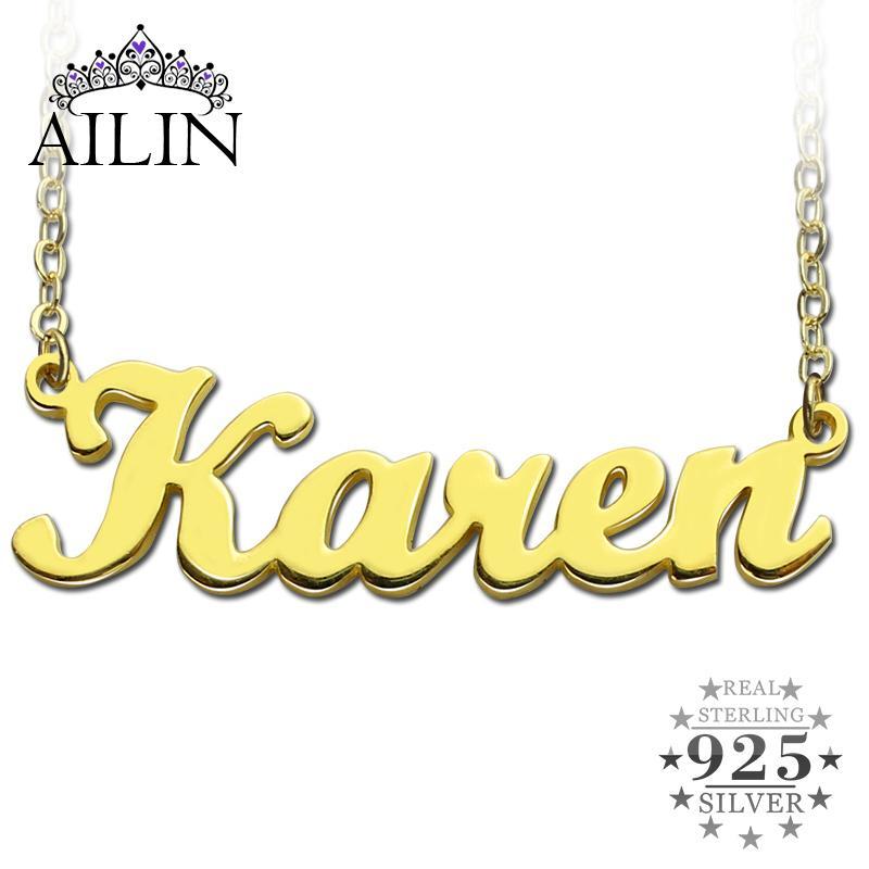 Livraison gratuite - Karen Style Nom Collier Or Couleur Sur Cuivre Initiales Personnalisé Bijoux Personnalisé Cadeau De Noël
