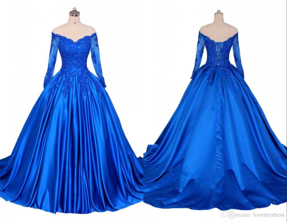 V neck Blue Evening Dress With Long Sleeves Lace A line Princess 2020 Applique Illusion Sequined Beaded Corset Back Quinceanera Party Dress