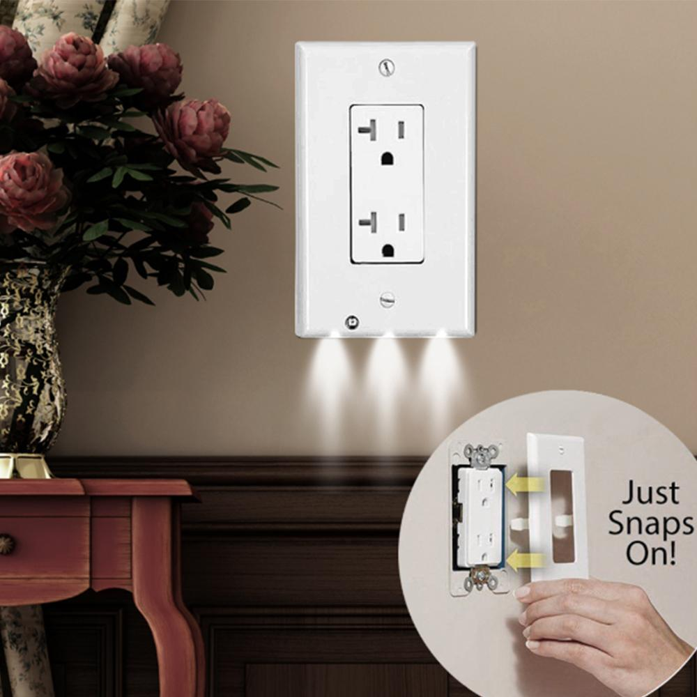 Acheter Plaque De Recouvrement Pour Prise Murale Avec Lumières LED Safty  Capteur De Lumière Plug Plaque De Recouvrement Socket Switch Cover