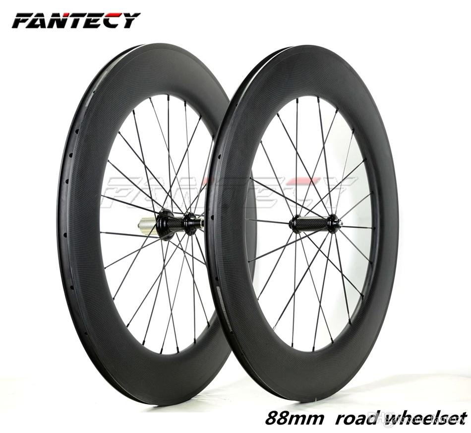700C 88mm depth carbon wheels 25mm width road bike wheelset with powerway R36 Ceramic hubs with UD/3K matte finish Free shipping