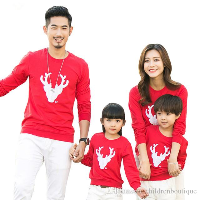 2018 Christmas Family Look Deer Mnommy And Me Clothes Matching Family Clothing Sets Mother Daughter Father Baby Christmas Deer T-shirt