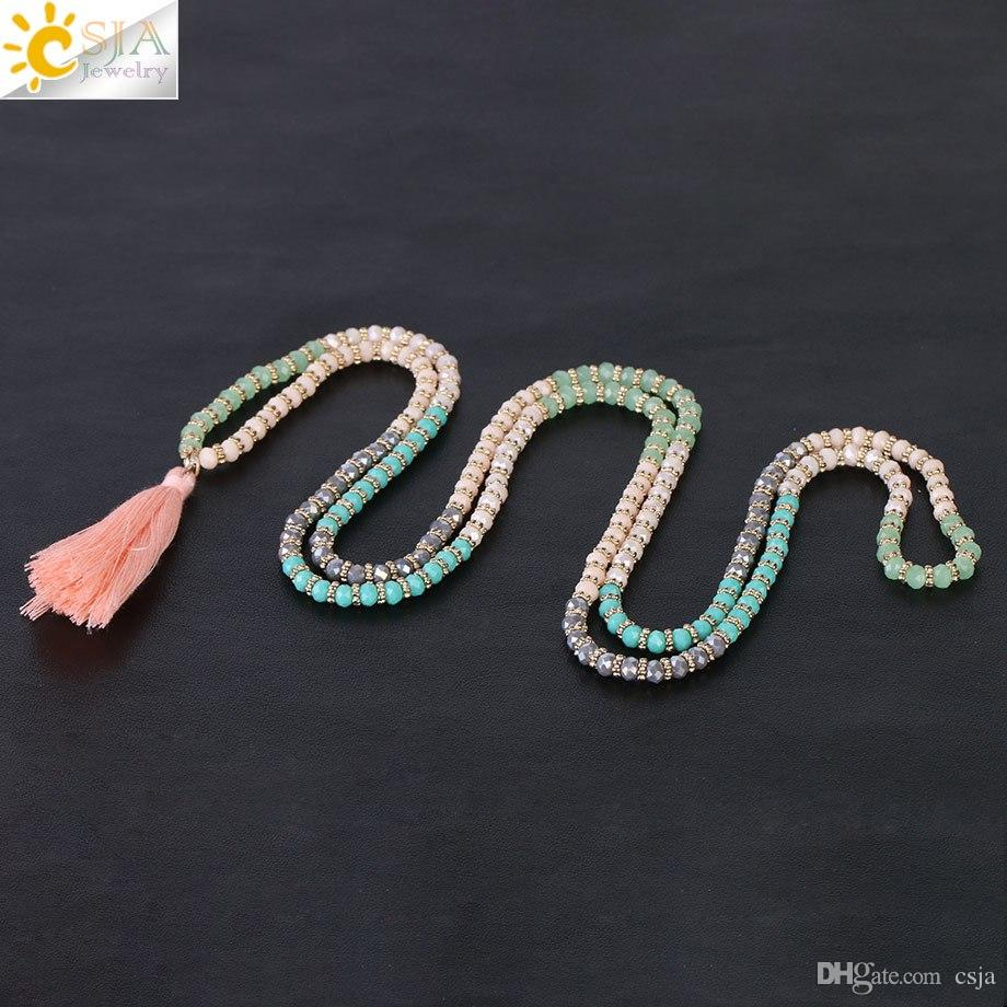 CSJA New Arrival Boho Long Necklaces for Women 4mm Pink Green Grey Faceted Glass Crystal Beads Flower Spacer Bead Charms Fringe Jewelry S048