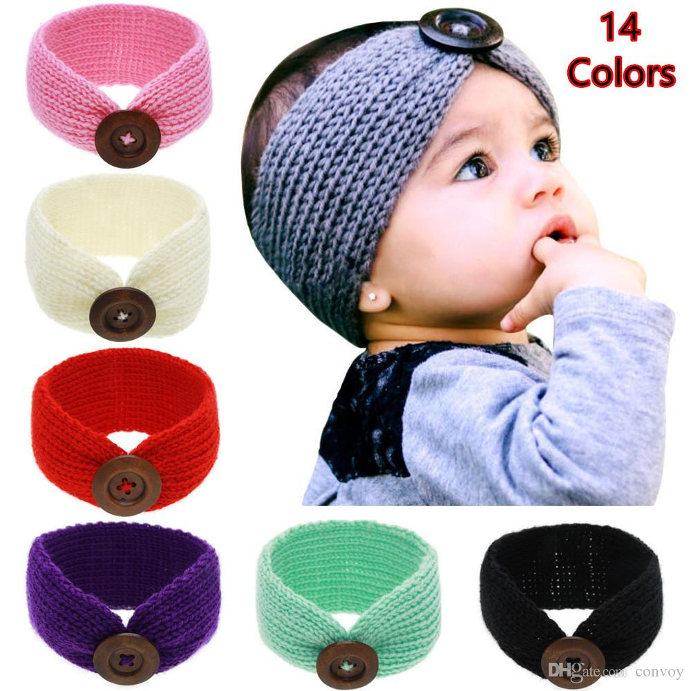 Nueva Baby Girls Fashion Wool Crochet Headband Knit Hairband con decoración de botones Invierno Recién nacido Bebé Ear Warmer Head Headwrap 14 colores KHA01