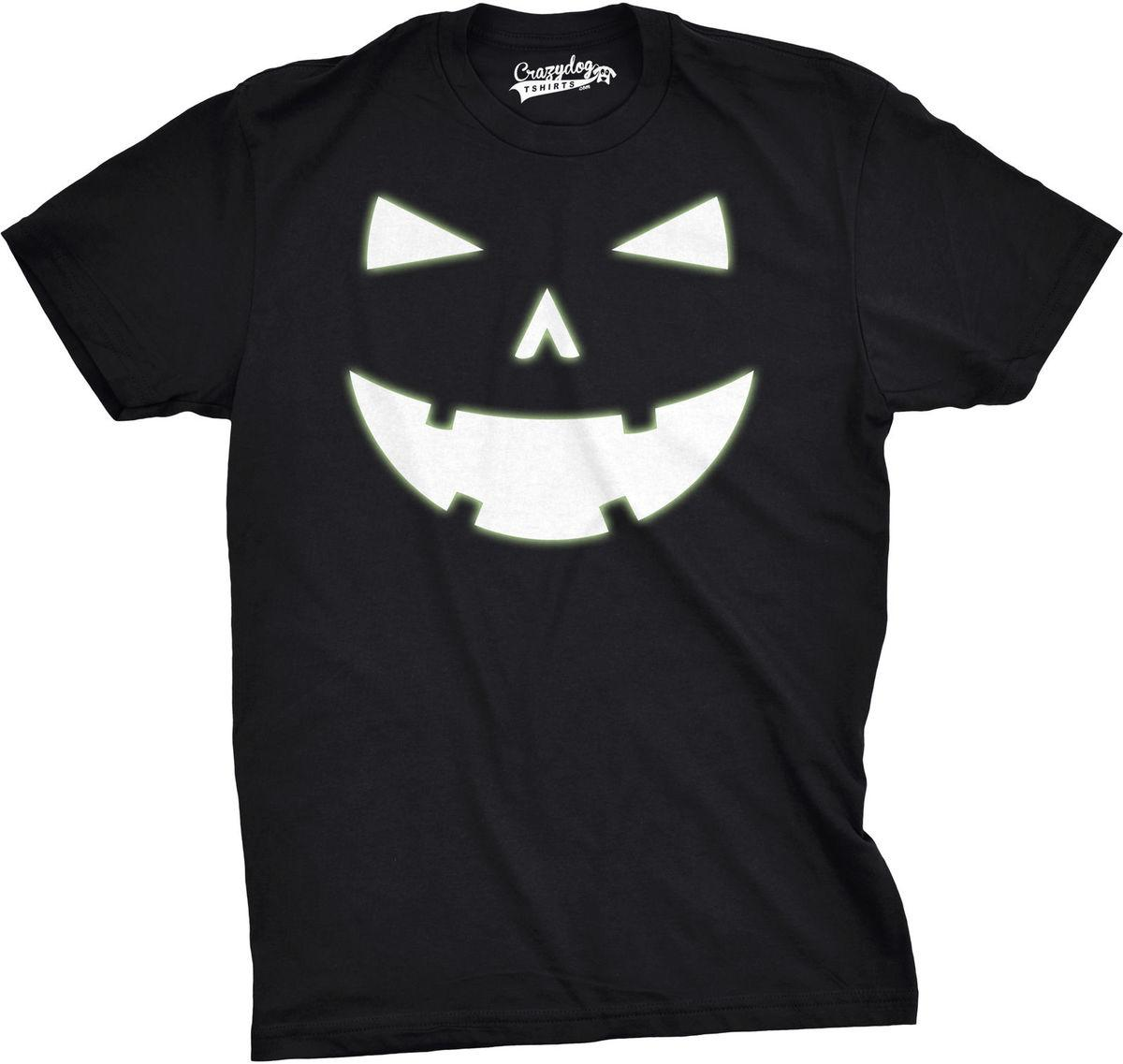 Mens Happy Tooth Glowing Pumpkin Face Glow In The Dark Halloween Tee Custom Made Good Quality T Shirt