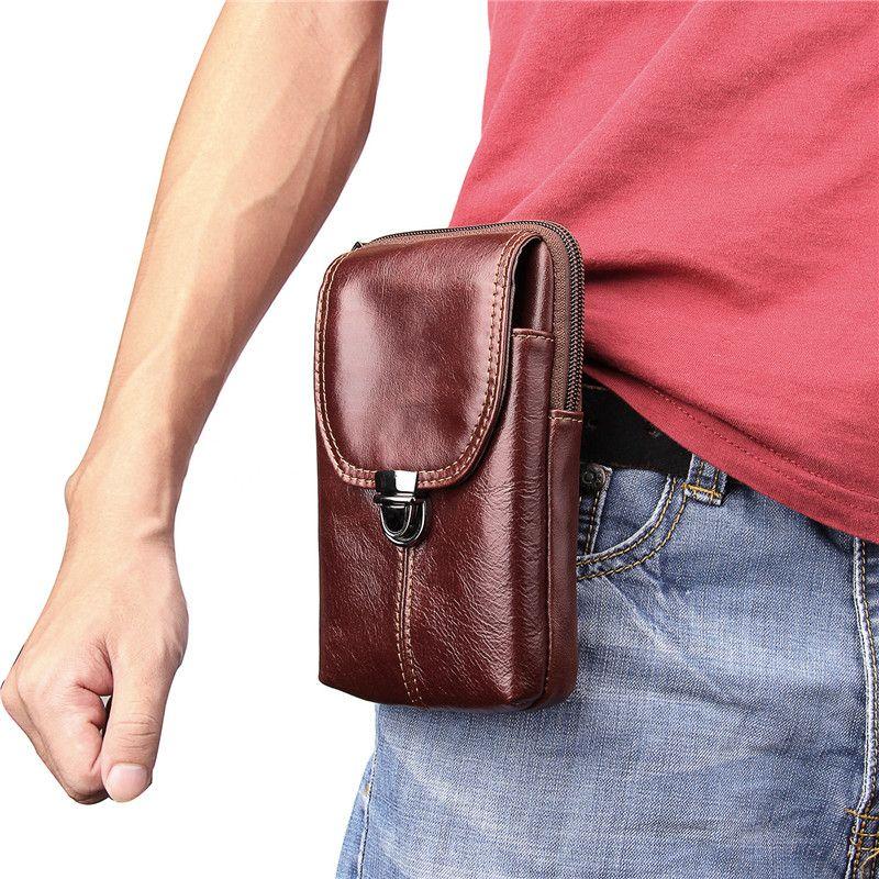 New 2018 Men's Fashion Travel Genuine Leather Cigarette Waist Belt Bag Fanny Pack Molle Mini Money Purse Mobile Phone Bag