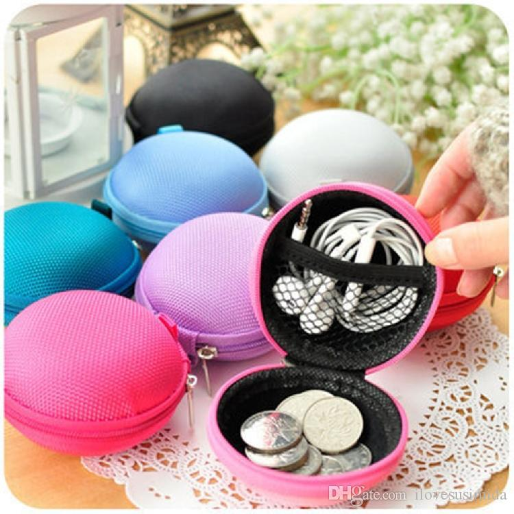 Colorful Canvas Zipper Bag Earphone Cable Mini Box SD Card Portable Coin Purse Headphone Bag Carrying Pouch Pocket Case Cover Storage