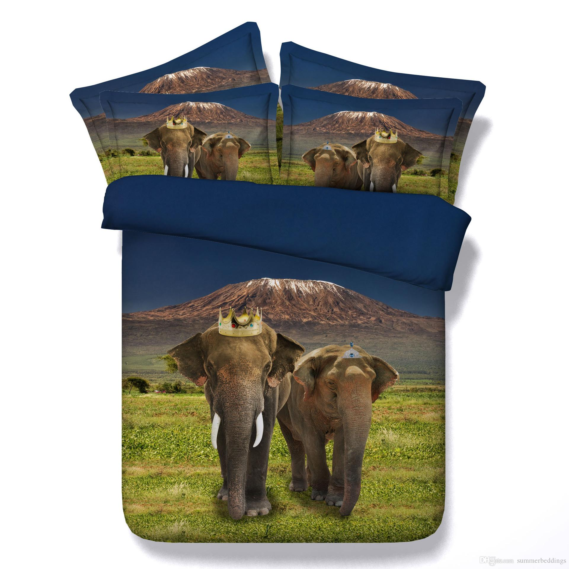 3D crown Elephant bedding sets queen christmas duvet cover single twin king cal king size bedpsreads bedlinens home textiles for adults