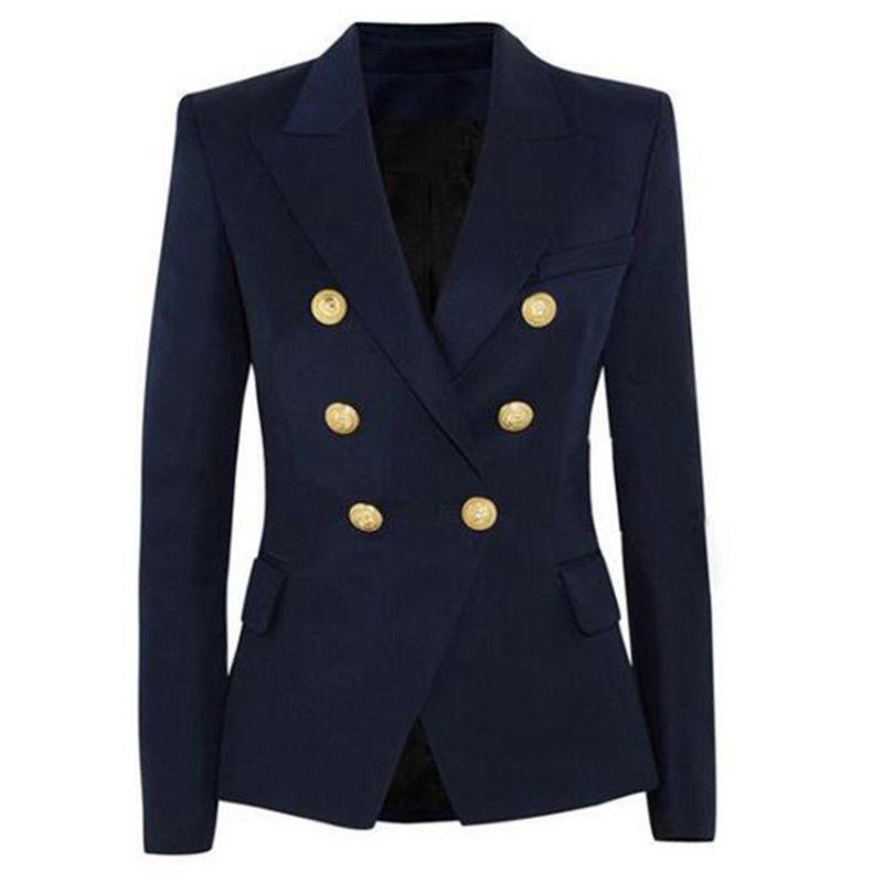 Yeni Moda Blazer Ceket Kadın Çift Breasted Metal Aslan Düğmeler Blazer Dış
