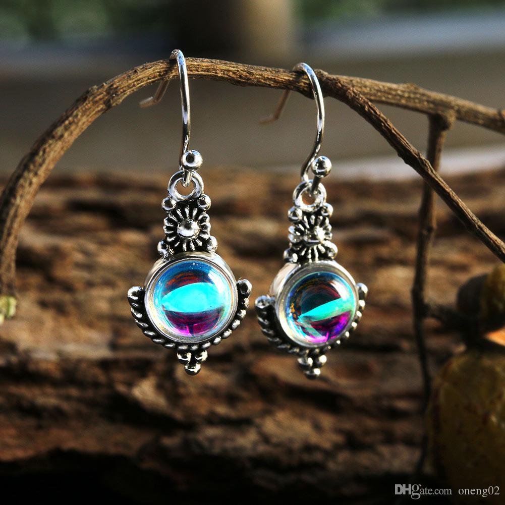 Bohême ethniques Dangle Goutte Moonstone Boucles d'oreilles pour les femmes tibétaines Boucle d'Argent Vintage Earings Mode Cadeaux Party Bijoux
