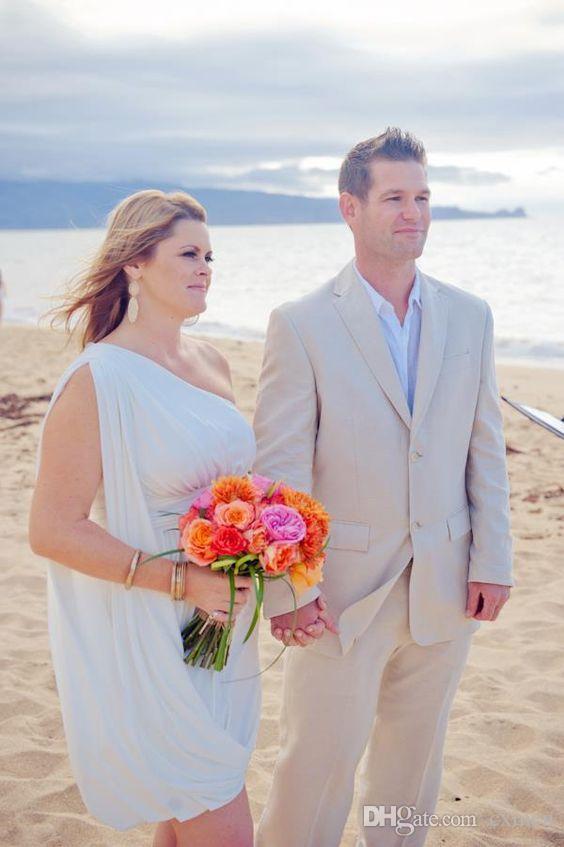 Beige Linen Custom Beach Wedding Suits Casual Best Man Blazers Slim Fit Groom Tuxedos Party Prom Wear 2 Pieces Jacket+Pants