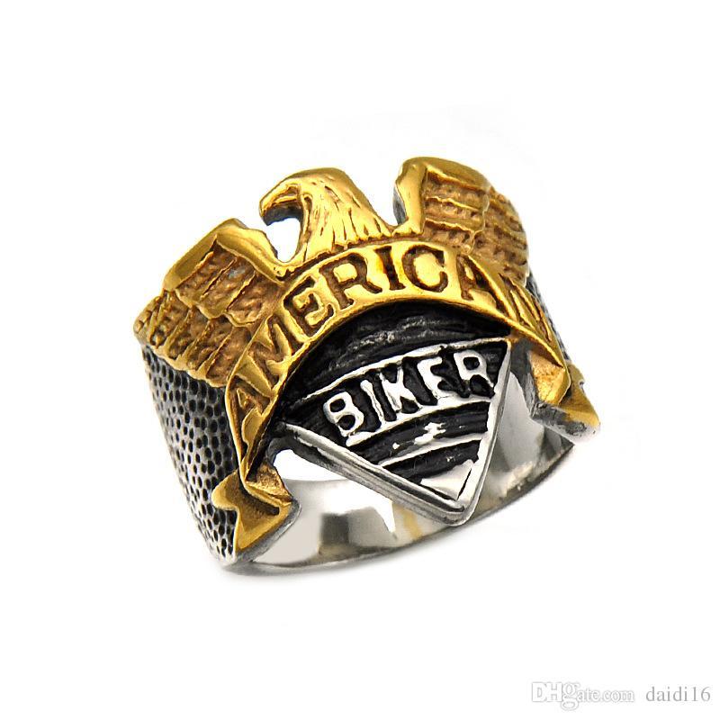 Titanium Steel Ring Diamond Stainless Steel American Biker Eagle Ring Jewelry