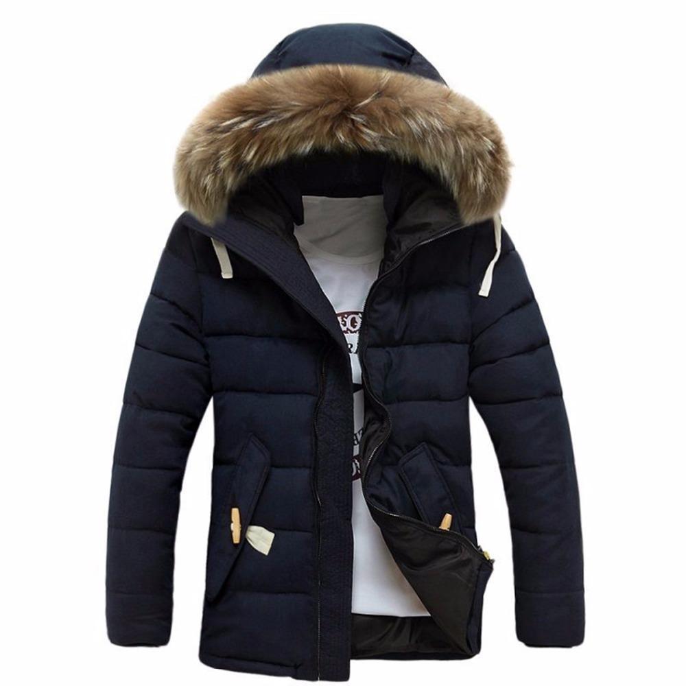 Куртка для мужчин пальто чайки Hoqubre Hombre толстый теплый хлопок с капюшоном плюс Sizefaux меховой воротник молнии с длинным рукавом M-3XL