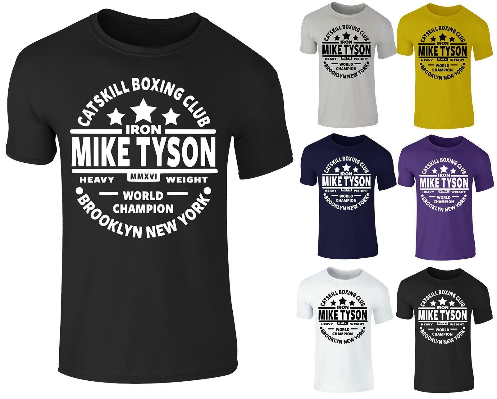 Mens Legend Mike Tyson Catskill Boxing Training Gym Cotton Crew Neck T-shirt Top