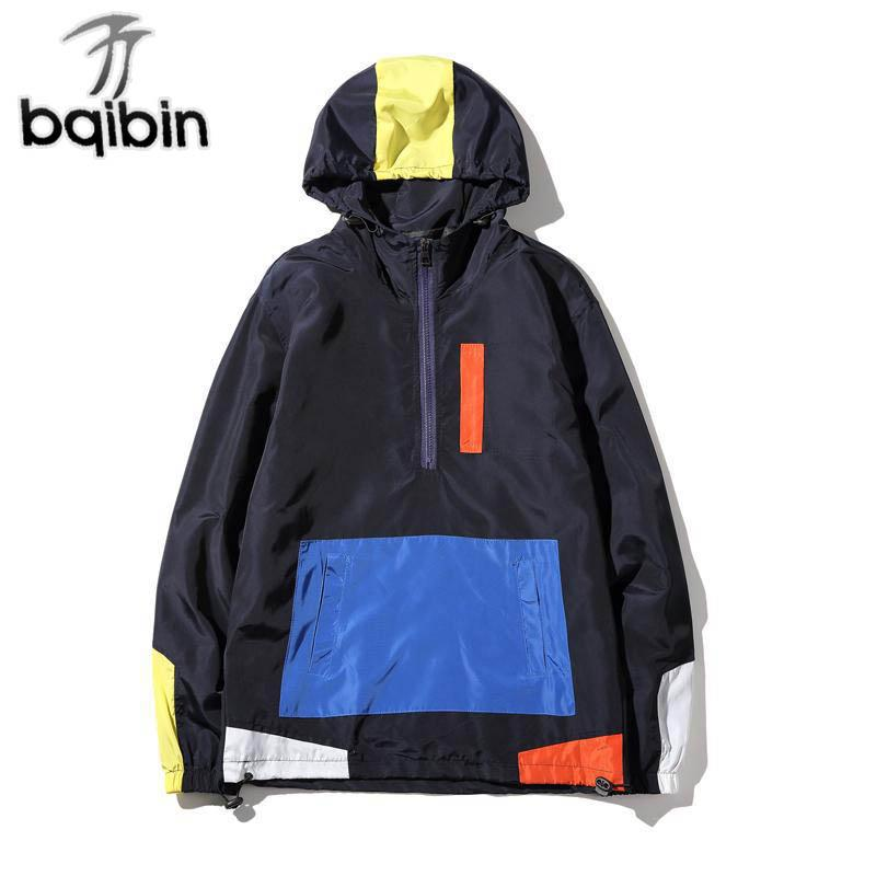 Neue Herbst Jacken Männer Hoody Patchwork Anorak Jacke Mode Hip Hop Mit Kapuze Plus Größe Student Windbreaker Mantel 5XL