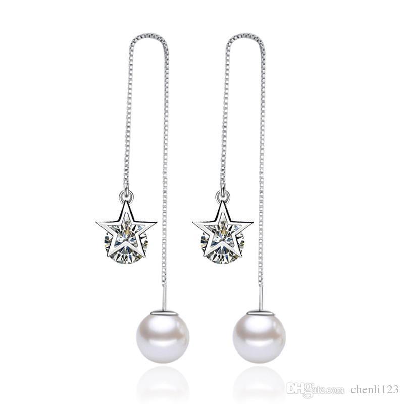 Wysokiej Jakości Symulowane Pearl Długie Kolczyki Star Cubic Cyrkonia Spadek Kolczyk Oświadczenie Moda Biżuteria Akcesoria damskie WHEG55