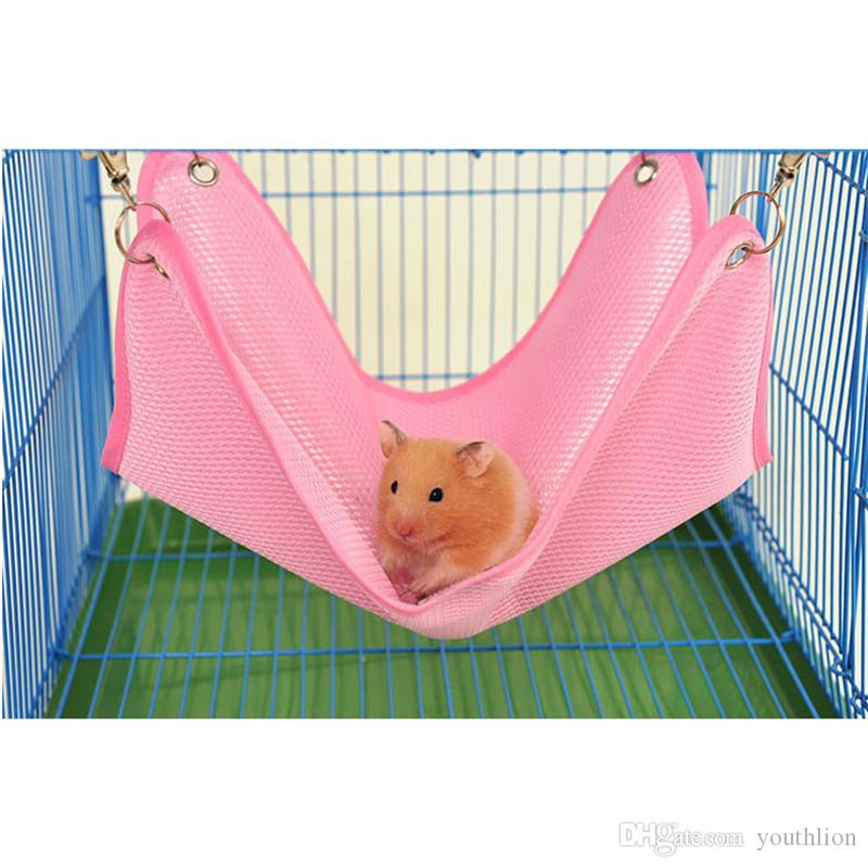 Hamster Swing Hanging Bed with Pothooks Small Pet Hamster Summer Mesh Breathable Cage Soft Hammock For Pet Sleeping