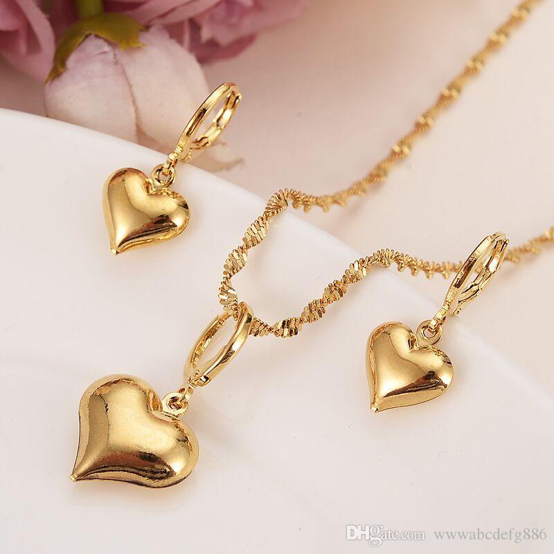 24 k oro amarillo sólido lleno encantador corazón colgante collares pendientes mujeres niñas joyería del partido establece regalos diy encantos