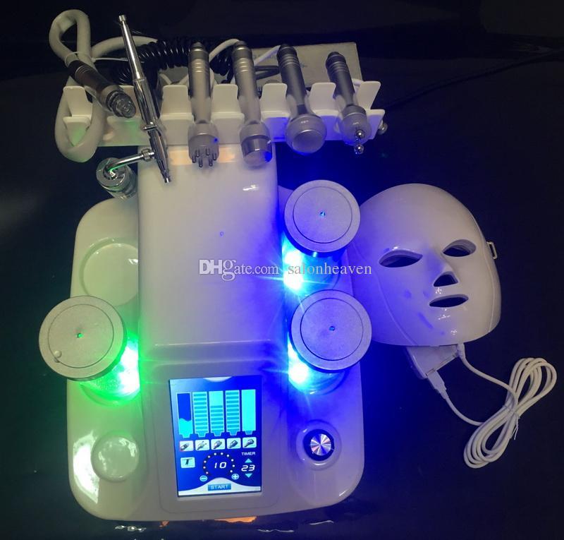 Taşınabilir 7 in 1 Hydra Mikrodermabrazyon Su Hydra Dermabrazyon Bio Ultrason RF Soğuk Çekiç Oksijen Sprey 7 Renkler PDT LED Yüz Maskesi