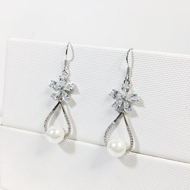 Argent 925 femmes fleur de cristal Tempérament Crochet longue boucle d'oreille Teardrop Bijoux fantaisie en forme Livraison gratuite