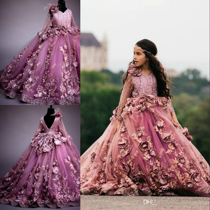 Fabulous Girls Pageant Dress With 3D Flowers Sparkly Sequin Beads Long Sleeves Flower Girl Dresses Fluffy Applique Ball Gown Birthday Dress