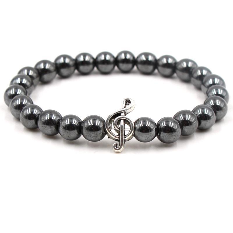 Stein Perlen Armband Leopard Kopfnote Musik elastischen Strang Charms Armband