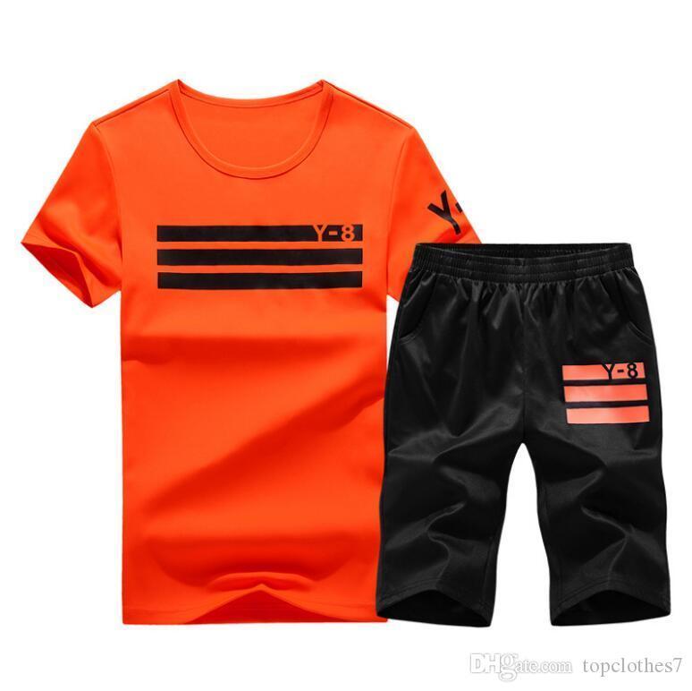 Мода плюс размер 4XL 2018 Лето 2 шт. мужчины топ футболки повседневная футболка+шорты спортивная одежда костюм мужчины футболка печати мужская Homme спортивный костюм