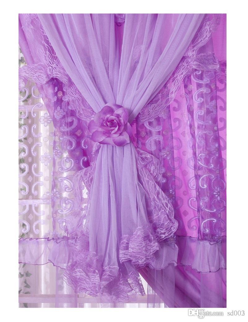 Practical Small Lace Sheer Window Curtain For Living Room Handmade Sunblind Girls Gift Pink Purple Easy Carry 150wl cc