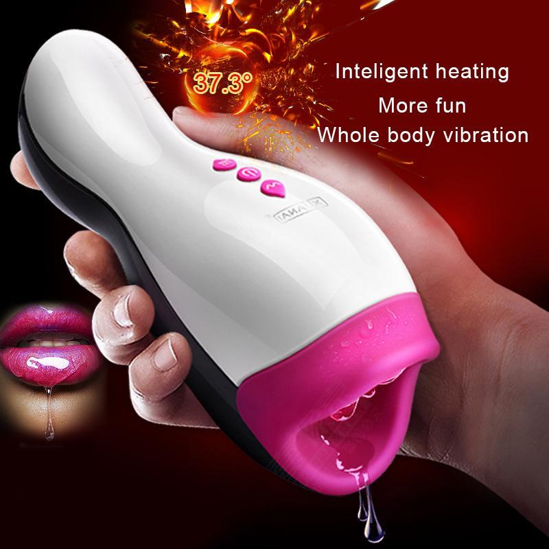 Coupe intelligente de masturbateur de chauffage, machine réaliste de sexe de pipe, jouets sexuels pour les hommes, suçage / léchage de pénis pour hommes