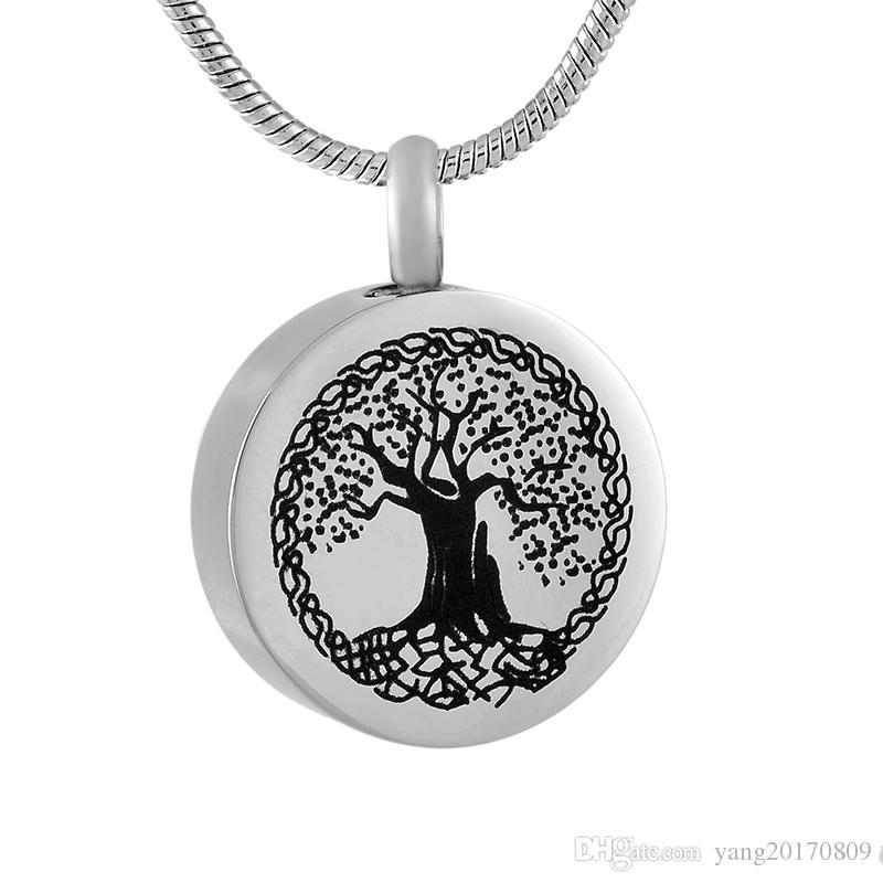 مجوهرات IJD9795 شجرة الحياة جولة جرة التذكار الحرق للرماد جنازة حامل جرة / الإنسان الحيوانات الأليفة التذكارية قلادة