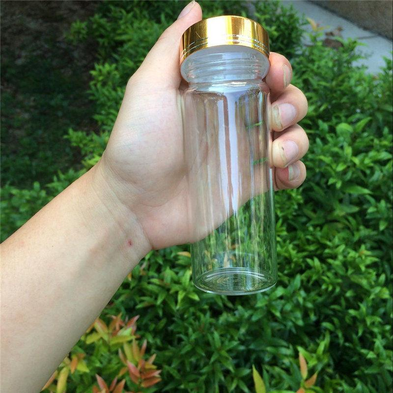 150ml Large Glass Bottles Glod Screw Cap Glass Bottles For Sand Candy Gift Jars Eco-Friendly2