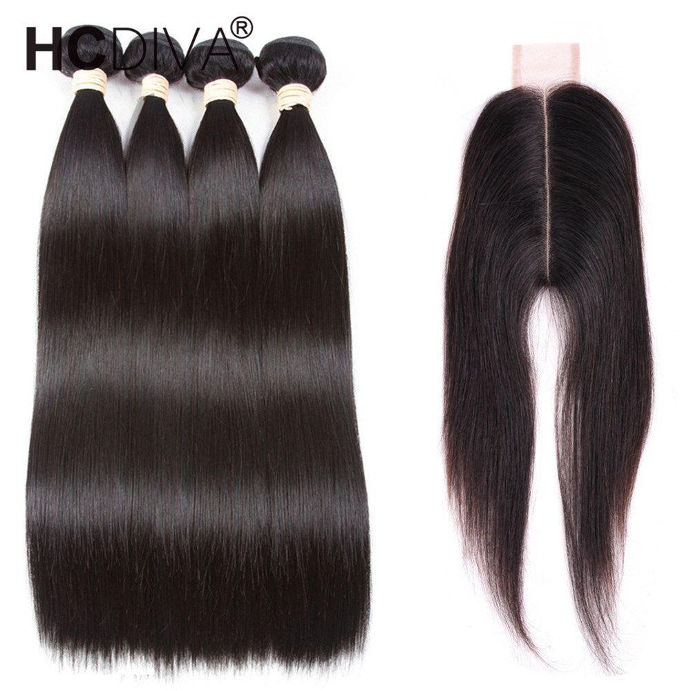 البرازيلي عذراء مستقيم مع إغلاق 6x2 غير المجهزة البرازيلي مستقيم الشعر 4 حزم مع إغلاق البرازيلي الإنسان نسج الشعر HCDIVA