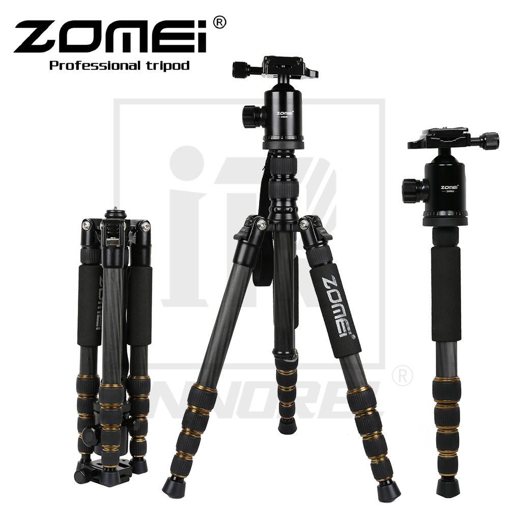 Comercio al por mayor Z699C Trípode de Fibra de Carbono Profesional cámara SLR soporte de viaje portátil Cabeza de la bola Monopod para Canon Nikon Sony