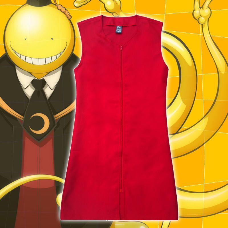 Asya Boyutu Yeni Japonya Anime Ansatsu Kyoushitsu Korosensei Cosplay Karikatür Unisex Kırmızı Kostüm Kolsuz Ceket Gömlek Yelek