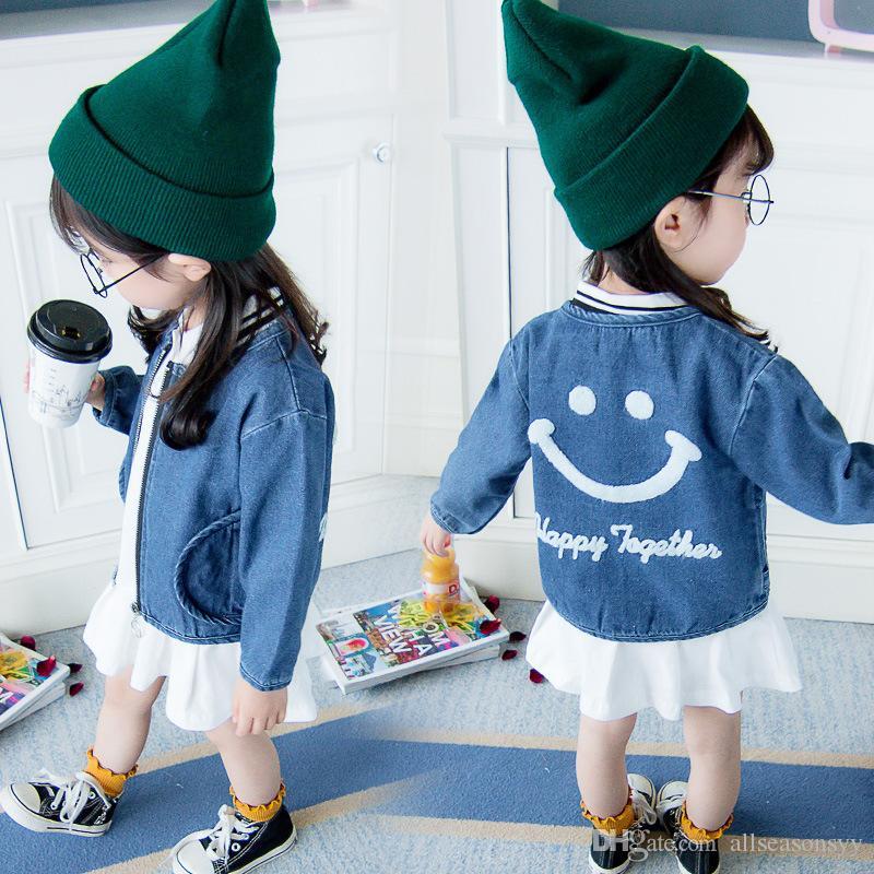 2018 Kinder Jeansjacke Baby Mädchen Herbst Kleidung Mantel Lächelndes Gesicht Strickjacke Oberbekleidung Kleidung Infant Mantel Kostüm