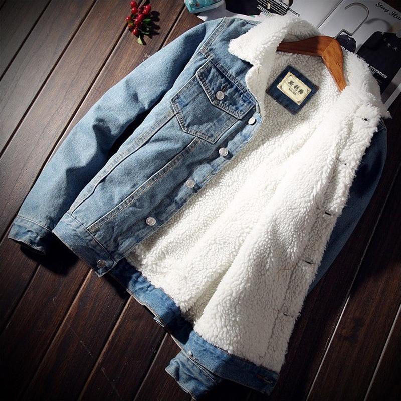 Bomber del denim con pelliccia degli uomini neri dei jeans modo di alta qualità giacca in pile invernale Jeansjacke Herren Men Blu oversize