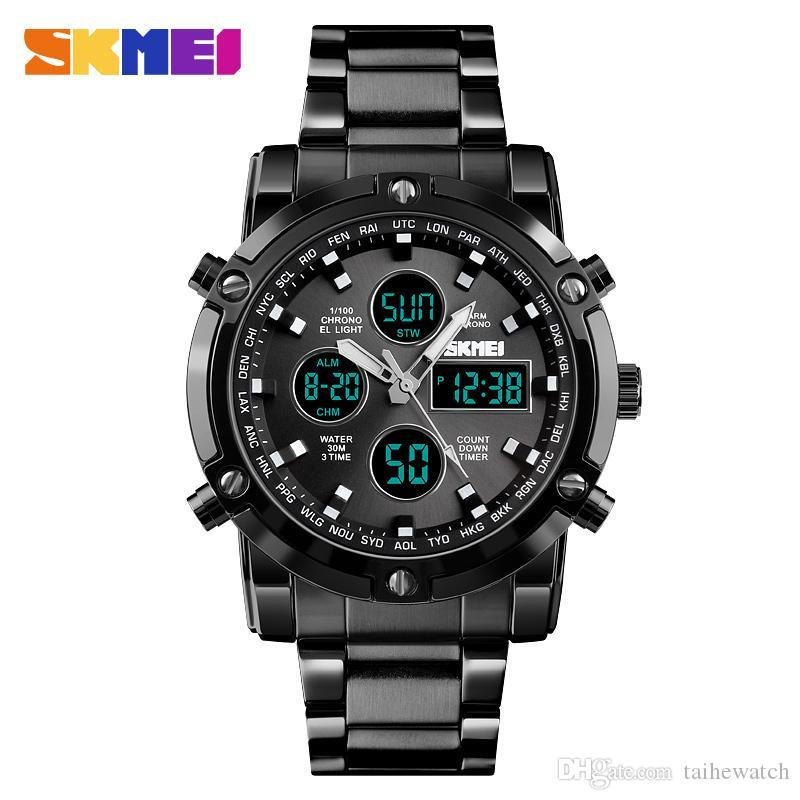 SKMEI 1369 Men multi-function Fashion Sport Quartz Digital New Arrivals Watches alarm countdown Luminous Analog Repeater Watch