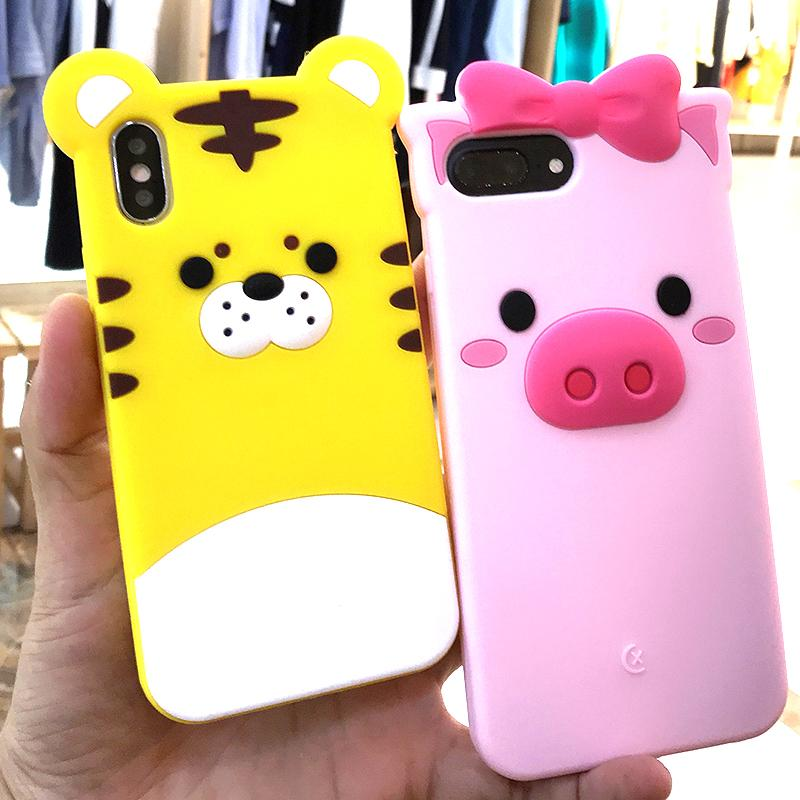 new product dbd37 e237d Cute 3D Cartoon Bowknot Pink Pig Tiger Soft Silicone Rubber Back Cover Case  For IPhone X 8 7 6 6S 5 5S SE Plus IPhone7 IPhone8 Customize Cell Phone ...