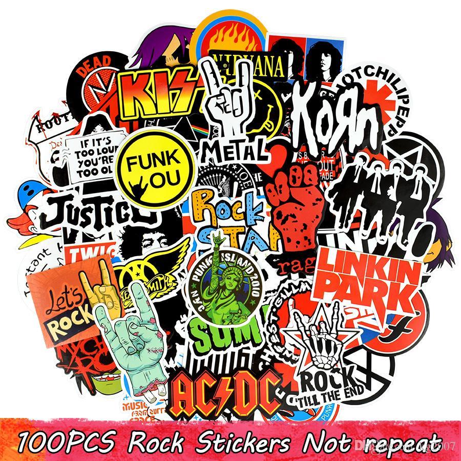 100 PZ Impermeabile Graffiti Adesivi Rock Band Decalcomanie per la decorazione domestica FAI DA TE Laptop Tazza di Skateboard bagagli chitarra PS4 Bike Moto regali auto