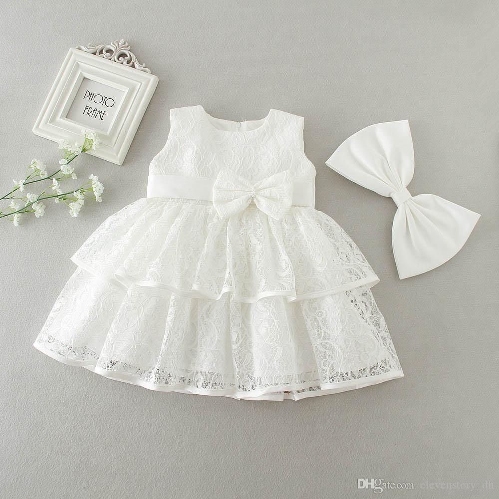 3 à 24 mois, bébé filles robes en dentelle bow, vêtements d'été blanc / rouge pour enfants, vêtements de vacances pour enfants, R1AM710DS-02