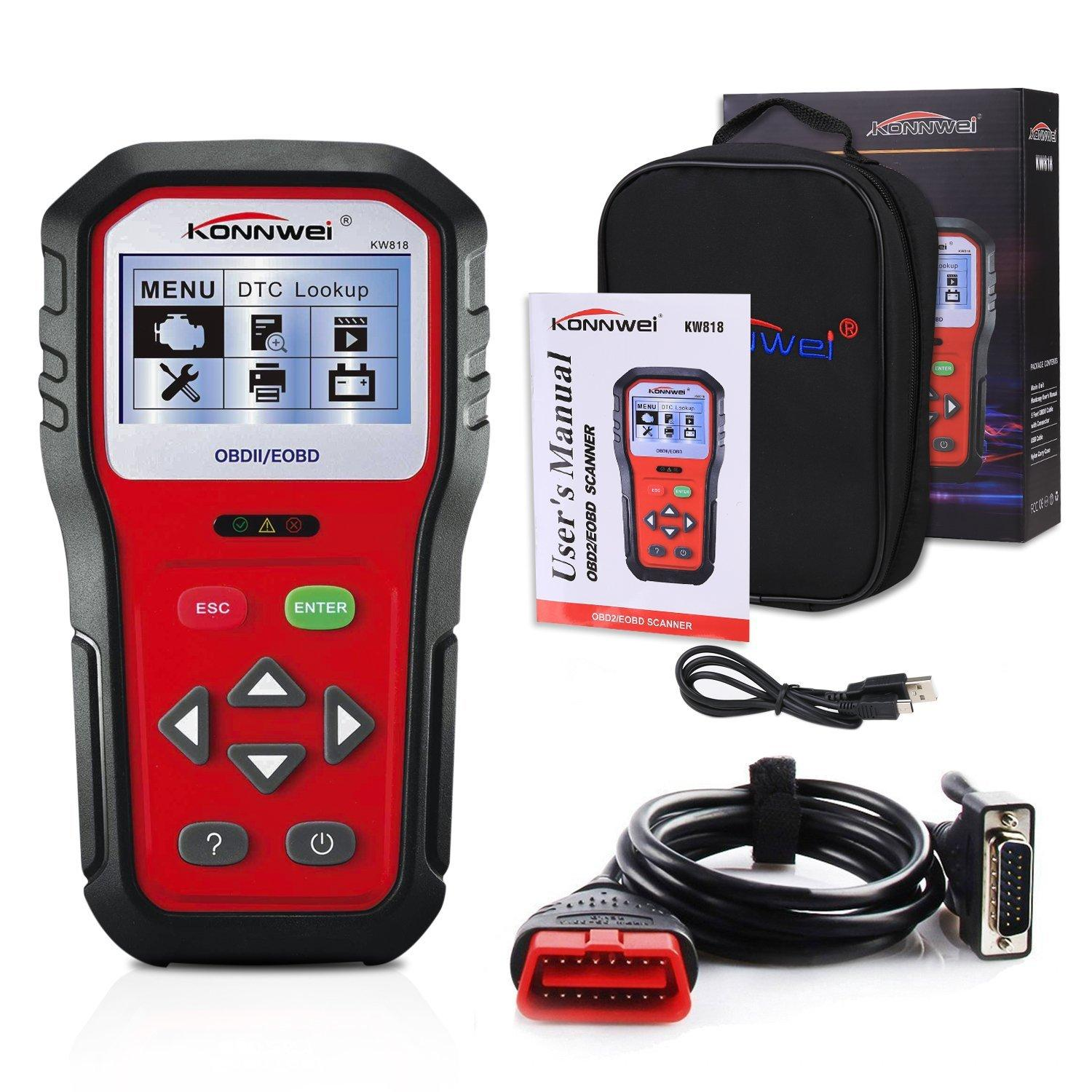 2019 OBD2 Car Diagnostic Scanner,KW818 Universal Car Code Reader Vehicle  Diagnostic Tool,Check Engine Light Code Reader For All Cars Since 1996 From